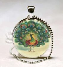 Vintage Peacock Cabochon Silver plated Glass Ball Chain Pendant Necklace H#26