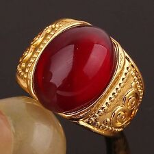Environmental Men's 14K Gold Filled US Size 9.5 Ruby Carving Ring Jewelry D405