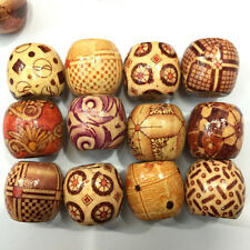 100Pcs 9*10mm Perles rondes en bois Chinoise traditionnel impression