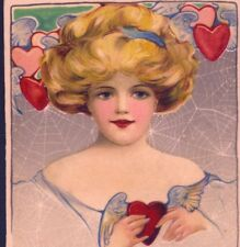 SCHMUCKER...VALENTINE'S DAY BLOND LADY,SPIDER WEB,WINGED HEARTS,WINSCH POSTCARD