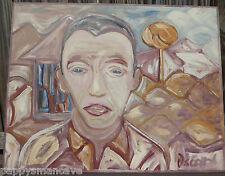 """ORIGINAL OSCAR NERESESIAN ( 1948-2008) FRESNO OUTSIDER ART """"HUMM"""" PAINTING 2000"""