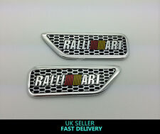2 x RALLIART MITSUBISHI 3D SIDE WING FENDER adesivo alluminio badge LANCER EVO