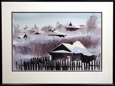 "Doug Lew ""Snowy Dawn"" Original Watercolor Painting winter Art SUBMIT AN OFFER!"