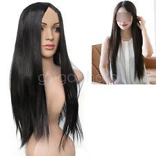 Nouveau Perruque Wig Longue Noire Droite Cheveux Synthétiques Femme Cosplay Bal