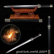 Boutique Chinese Longquan Sword Pattern Steel Copper Fitting Ebony Sharp # 580