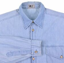 VTG Versace V2 Made In ITALY Denim Chambray Gold Button Casual Utility Shirt S