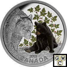 2015 Black Bear-Baby Animals Colored Proof $20 Silver Coin 1oz.9999 Fine (17003)