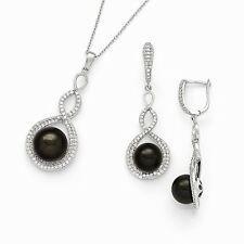 """STERLING SILVER BLACK 10 - 12 MM CZ AND SHELL PEARL EARRING NECKLACE SET 17"""""""