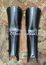 Basic Leather 2 Layer Greaves w/knees Armor SCA LARP reenactor medieval armour