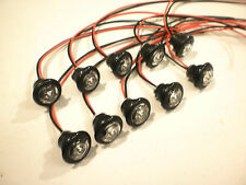 """10- 3/4"""" Red Clear LED Clearance Side Marker Bullet Trailer Light Truck PC Fire"""