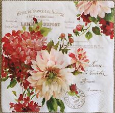2 single paper napkins decoupage Collection Serviette Flower Shabby Flowers Text