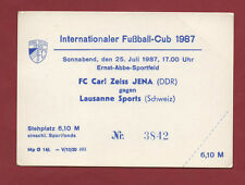 Orig.Ticket    IFC / Intertoto Cup 1987  CARL ZEISS JENA - LAUSANNE SPORTS ! TOP