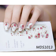 14pcs/ Sheet Flowers Nail Wraps Red Rose Nail Art Full Stickers for DIY MDS1013