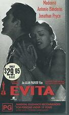 EVITA   Starring Madonna  Antonio Banderas  (PAL VHS VIDEO) VGC