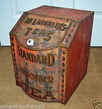 Antique McLaughlins Teas Standard Tin Advertising Box Store Display Bin Canister