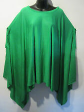 Top Fits M L XL 1X 2X 3X 4X One Size Plus NEW Dolman Poncho Green Stretch Tee