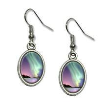Aurora Borealis Alaska Sky - Novelty Dangling Drop Oval Charm Earrings
