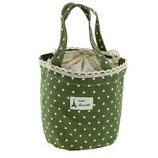 1pc Linen Thermal Insulated Lunch Box Tote Cooler Bag Bento Picnic Pouch Green