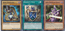 Dark Magician + Dark Magician Knight + Knight's Title - Near Mint - Yugioh