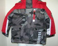OSHKOSH B-Gosh Boys 2T Outerwear 4 in 1 Winter Jacket Red Gray Camouflage