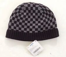 NWT Gymboree Turbo Charged Size 5-7 Black & Gray Checkered Beanie Sweater Hat