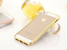 Diamond Crystal Metal Aluminium Bumper Case Cover for Apple iPhone SE/5/5S Grey