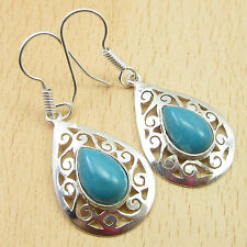 Low Price LARIMAR Celtic Earrings 1 3/4 Inches ! Sterling Silver Plated Jewelry