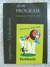 1958 World Cup Programme Argentina v Czechoslovakia,15 June (Original*,Exc*)