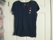 t-shirt knit top navy blue stars red white and old large 100% cotton