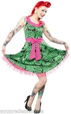 130290 Green Melting Monsters Dress Sourpuss Psychobilly Punk Bow X-Large XL