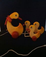 Vintage Kouvalias Duck With Ducklings Pull Toy