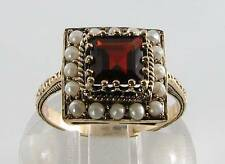 CLASS 9CT GOLD MADAGASCAN GARNET & PEARL ART DECO INS RING  FREE RESIZE