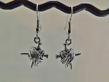 Yarn Ball and Knitting Needles Charm Earrings silver pewter USA-made lead-free