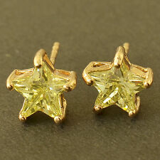 Childrens Jewelry Apple Green Solid Gold Filled Star Womens Cute Stud Earrings