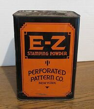 E-Z Stamping Powder Tin  Perforated Pattern Co. New York With Contents