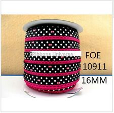 "1 meter, 16mm, 5/8"" Polka dots  bows print foe elastic ribbon baby head band"