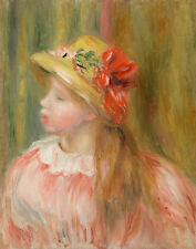 Renoir Auguste Pierre Portrait Of A Girl With Straw Hat Canvas 16 x 20 5648