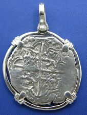 Spanish Cobb Pirate PIECE OF 8 Shipwreck Treasure Coin Doubloon Bezeled Pendant
