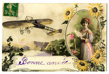 1916 French Vintage Art Greetings Postcard w/Stamp Happy New Year