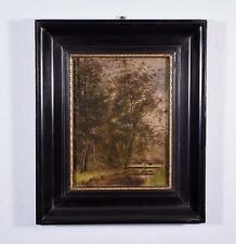 Signed Antique Oil on Panel Painting of a Small Bridge in the Country