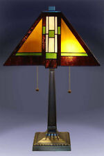 """Tiffany Style Stained Glass Mission Table Lamp 14"""" Shade New"""