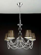 5 Light Chrome Crystal  With Black Shades Ceiling Light Pendant Lamp Chandelier