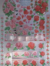 3D Diecut Sheet Dufex Decoupage Red and Pink Roses NEW