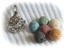 Basket Weave Essential Oil Aromatherapy Necklace Diffuser with 6 lava stones!