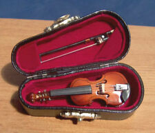 Miniature Violin & Bow Musical Instrument Ornament Musical Boxed dolls house LGW