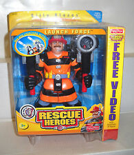 #7402 NRFB Fisher Price Rescue Heroes Launch Force Billy Blazes with VHS Video