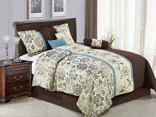 7-Pc Jacquard Embroidery Floral Striped Comforter Set Beige Blue Brown King