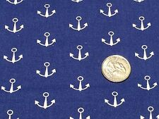 Fabric Nautical Anchors White Seawater Friends on Navy Cotton By The 1/4 yd BIN