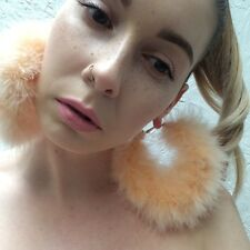 Handmade **Orange Sorbet** Marabou Feather fluffy large gold hoop earrings