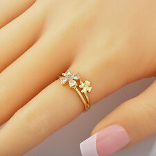 Cute Womens Yellow Gold Filled Clear Cubic Zirconia 2 Flower Band Ring Size 6